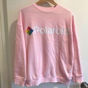 Zara Polaroid pink sweatshirt pullover top